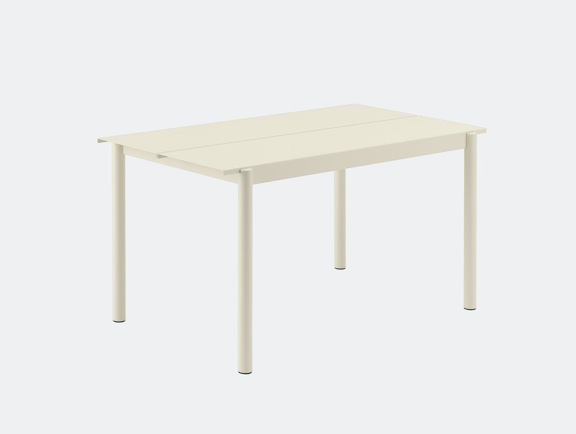 Muuto Linear Steel Outdoor Table L 140Cm Off White Thomas Bentzen