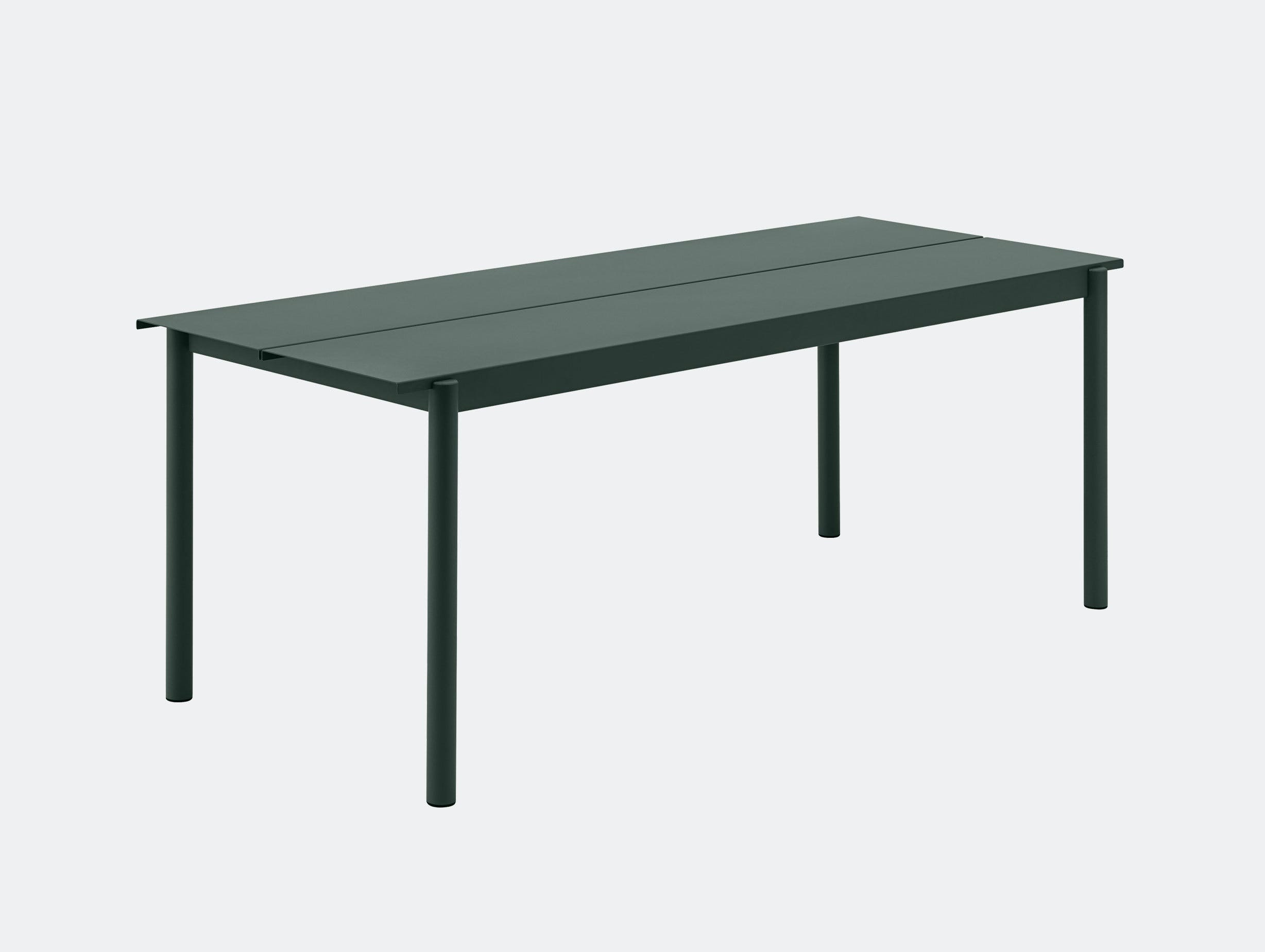 Muuto Linear Steel Outdoor Table L 200Cm Dark Green Thomas Bentzen