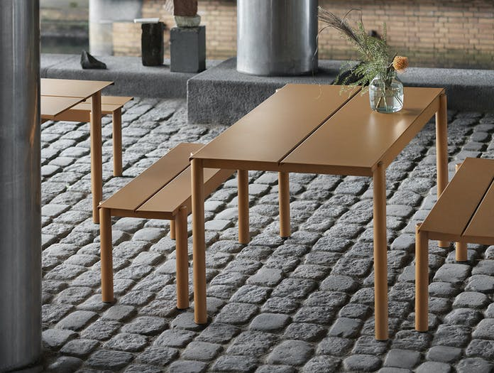 Muuto Linear Steel Outdoor Table And Bench Burnt Orange Thomas Bentzen