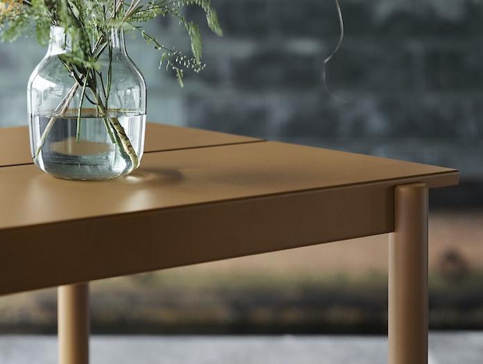 Muuto Linear Steel Outdoor Table Detail Burnt Orange Thomas Bentzen