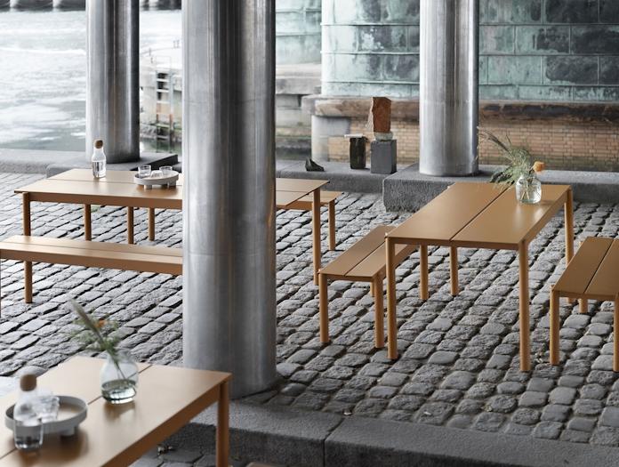 Muuto Linear Steel Outdoor Tables And Benches Burnt Orange Thomas Bentzen