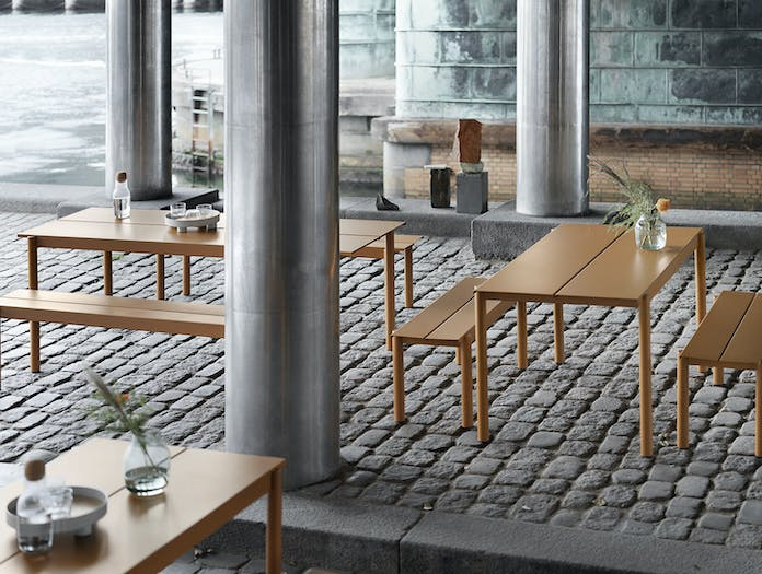 Muuto Linear Steel Outdoor Tables And Benches Burnt Orange Thomas Bentzen
