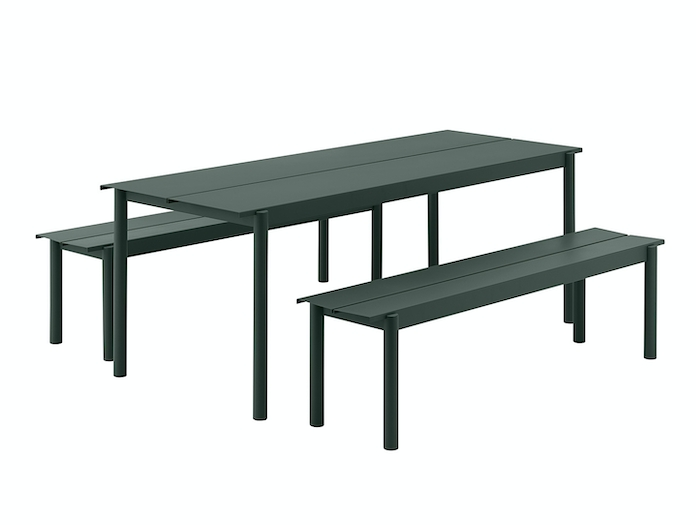 Muuto Linear Steel Outdoor Table Bench Group