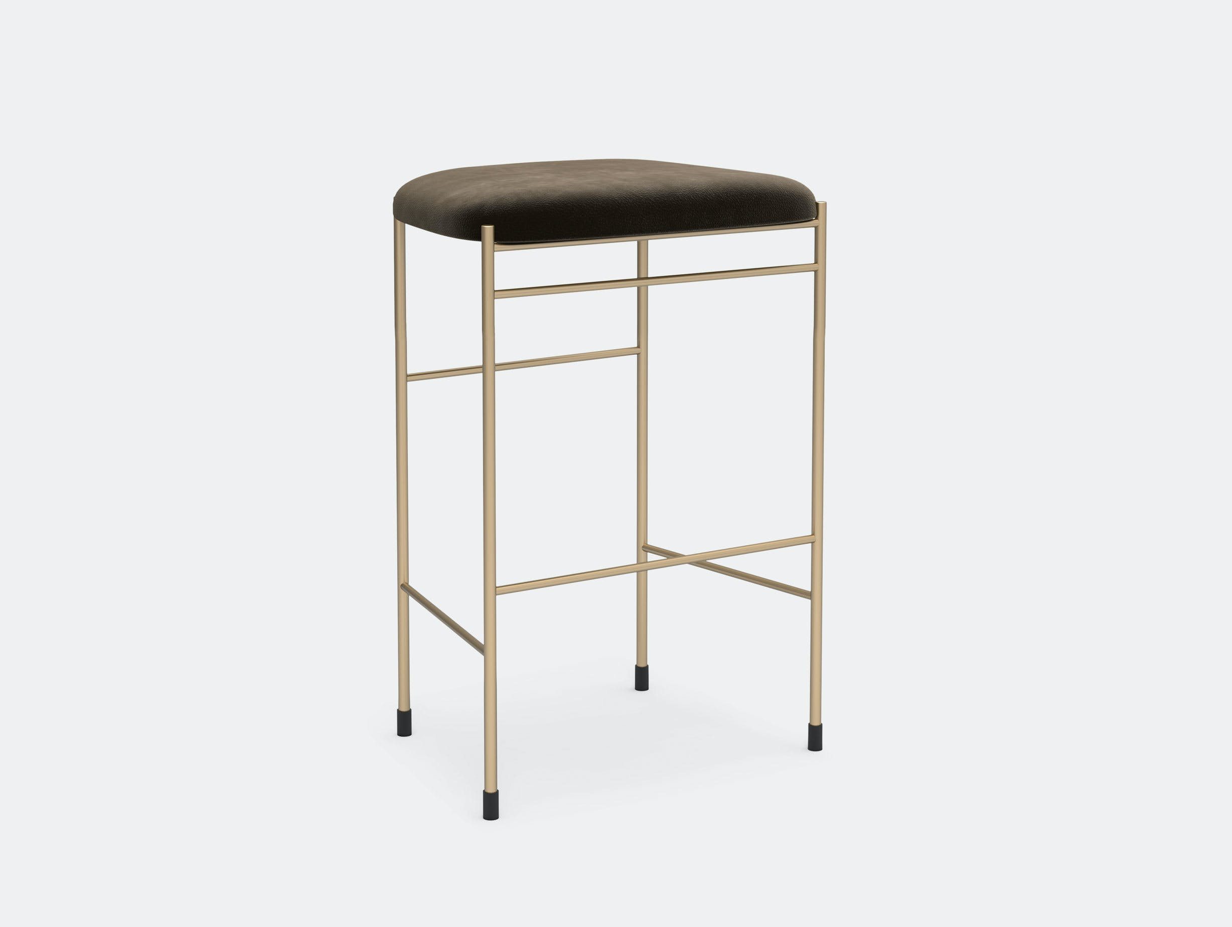 New Works Copenhagen Covent Counter Stool Brown Nubuck Gold Frame Arde
