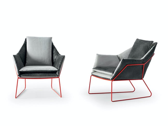 Saba New York Armchairs Grey Red Sergio Bicego