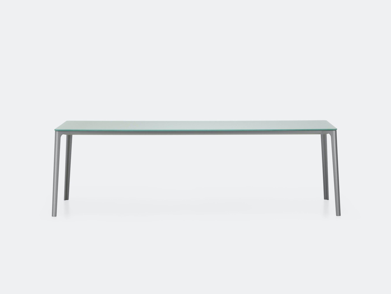 Vitra Plate Dining Table Grey Satin Glass Grey Frame Jasper Morrison