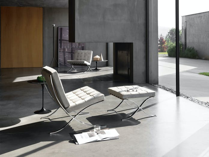 Knoll Barcelona Chair White In Situ