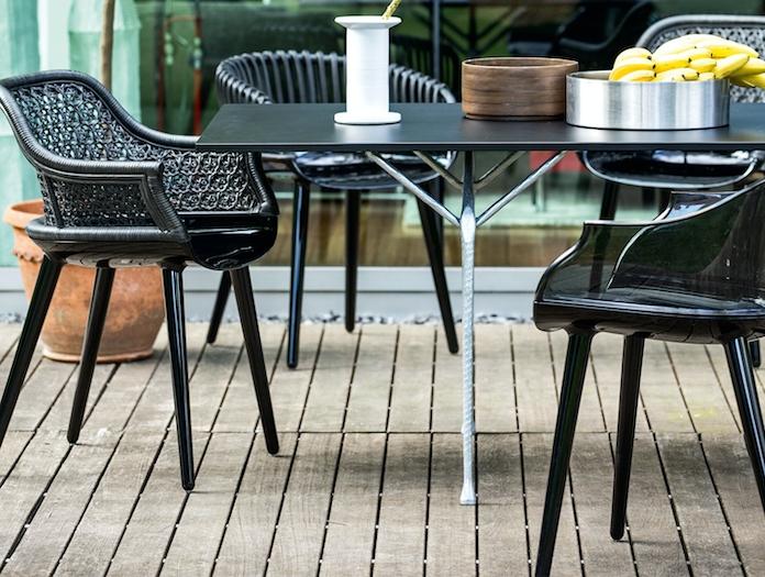 Magis Officina Table Galvanised Frame Black Steel Top