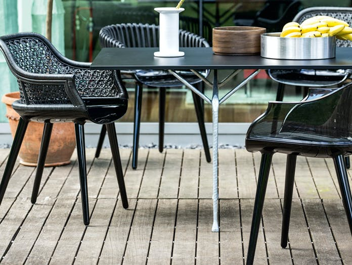 Magis Officina Table Galvanised Frame Black Steel Top