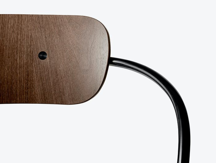 And Tradition Pavilion AV2 Armchair walnut backrest detail Anderssen Voll