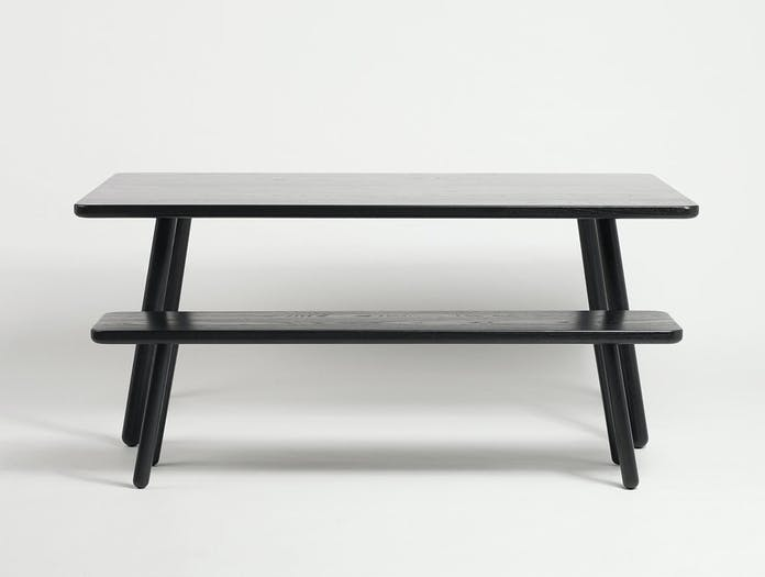 Another Country Bench One and Table Black Ash