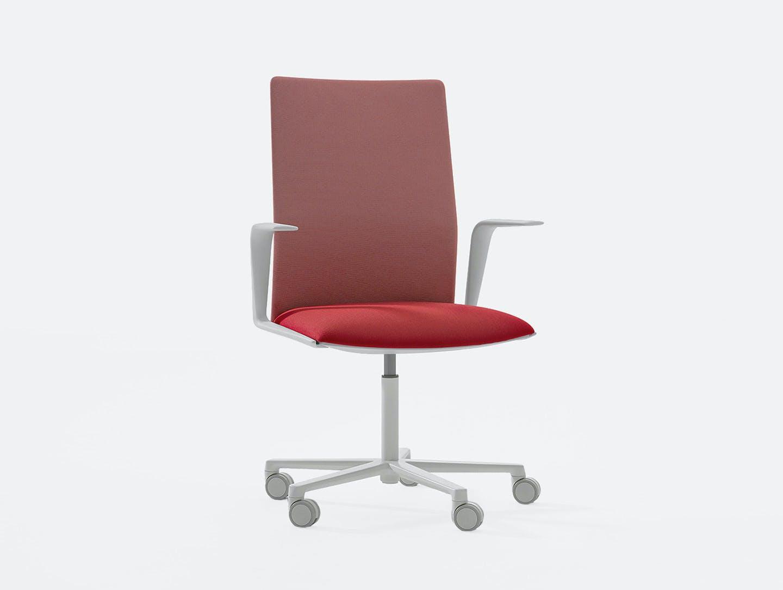 Arper Kinesit Task Chair white red upholstery