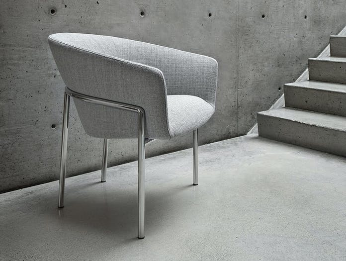Bensen Metro Lounge Chair grey fabric chrome frame Niels Bendtsen