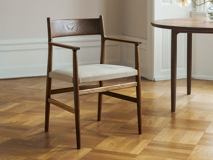 Brdr Kruger ARV Armchair Upholstered fumed oak fabric Studio David Thulstrup