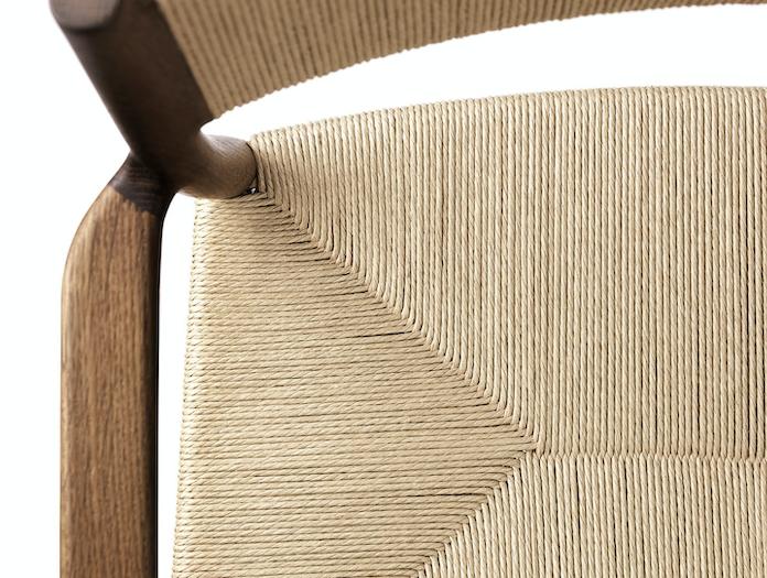 Brdr Kruger ARV Armchair fumed oak woven seat and back detail Studio David Thulstrup