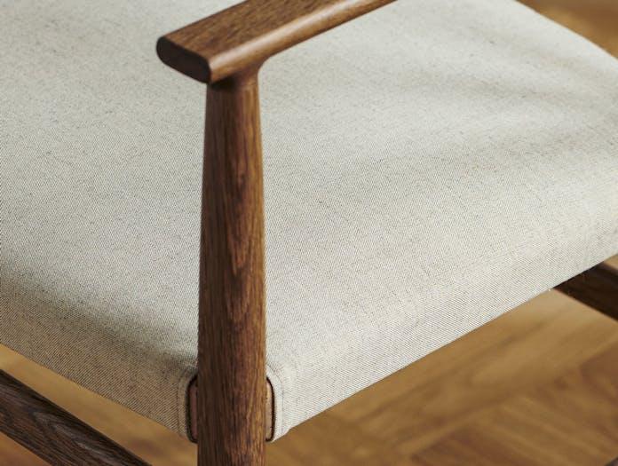 Brdr Kruger ARV Armchairs Upholstered fumed oak fabric detail Studio David Thulstrup