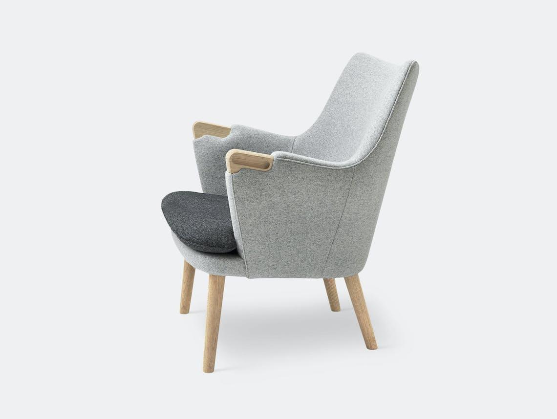 Carl Hansen Ch71 Lounge Chair Oak Grey Wool Fabric Hans Wegner