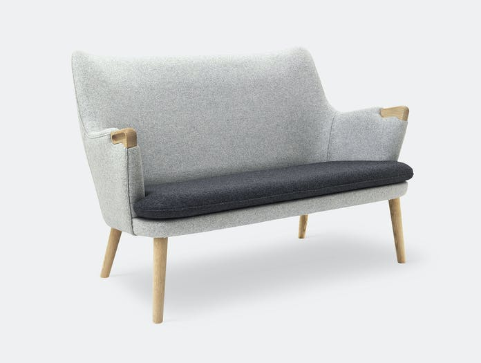 Carl Hansen Ch71 Sofa Oak Grey Wool Fabric Hans Wegner