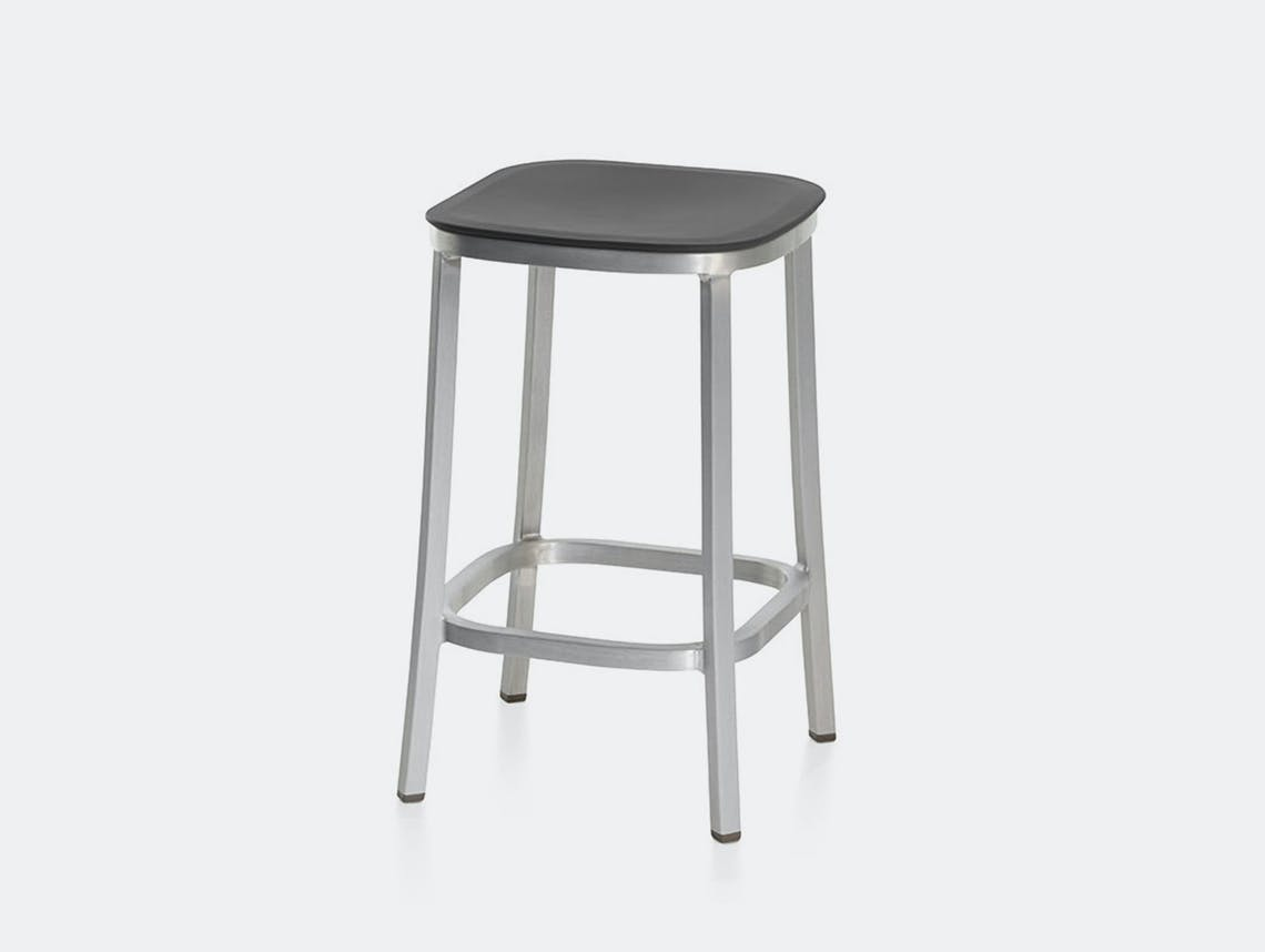 Emeco 1 Inch Counter Stool Aluminium Dark Grey Jasper Morrison