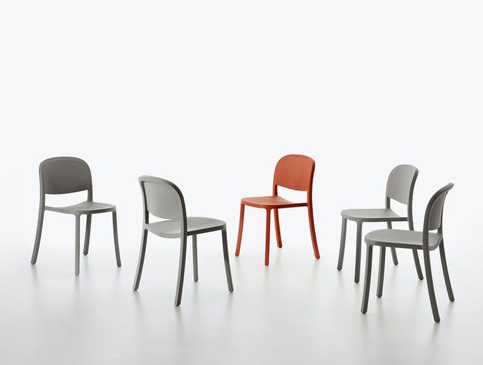 Emeco 1 Inch Reclaimed Chairs Grey Red Jasper Morrison
