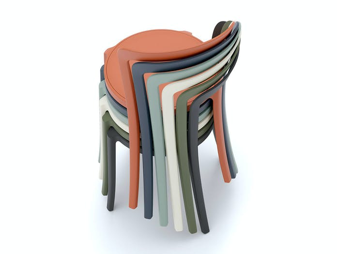 Emeco On and On Chairs stack 6 Edward Barber Jay Osgerby