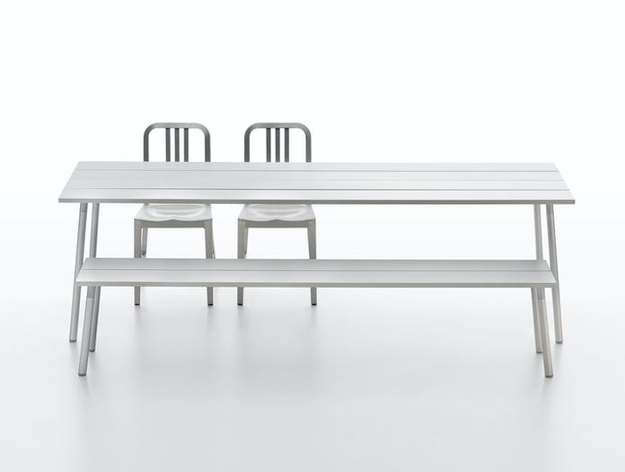Emeco Run Aluminum Table Bench and 1006 Navy Chairs