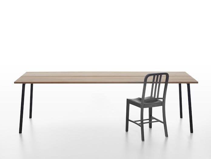 Emeco Run Cedar Table with 111 Navy Chair