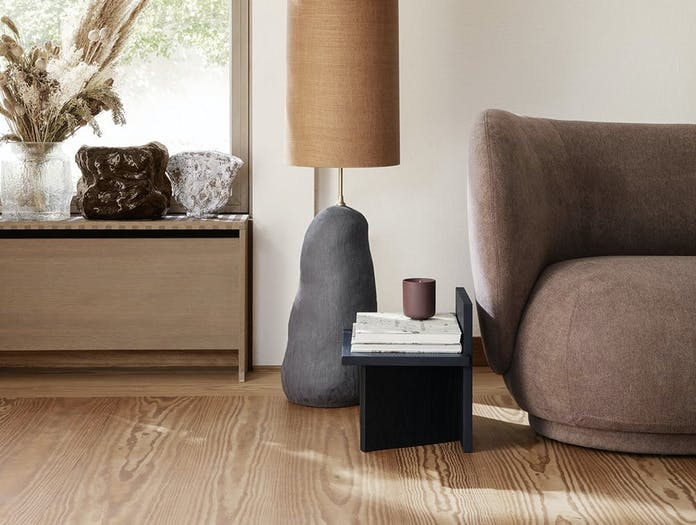 Ferm Living Oblique Stool Side Table black stained ash