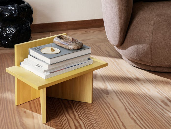 Ferm Living Oblique Stool Side Table yellow stained ash