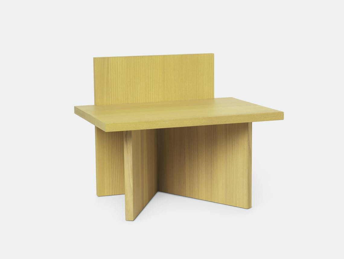Ferm Living Oblique Stool yellow stained ash