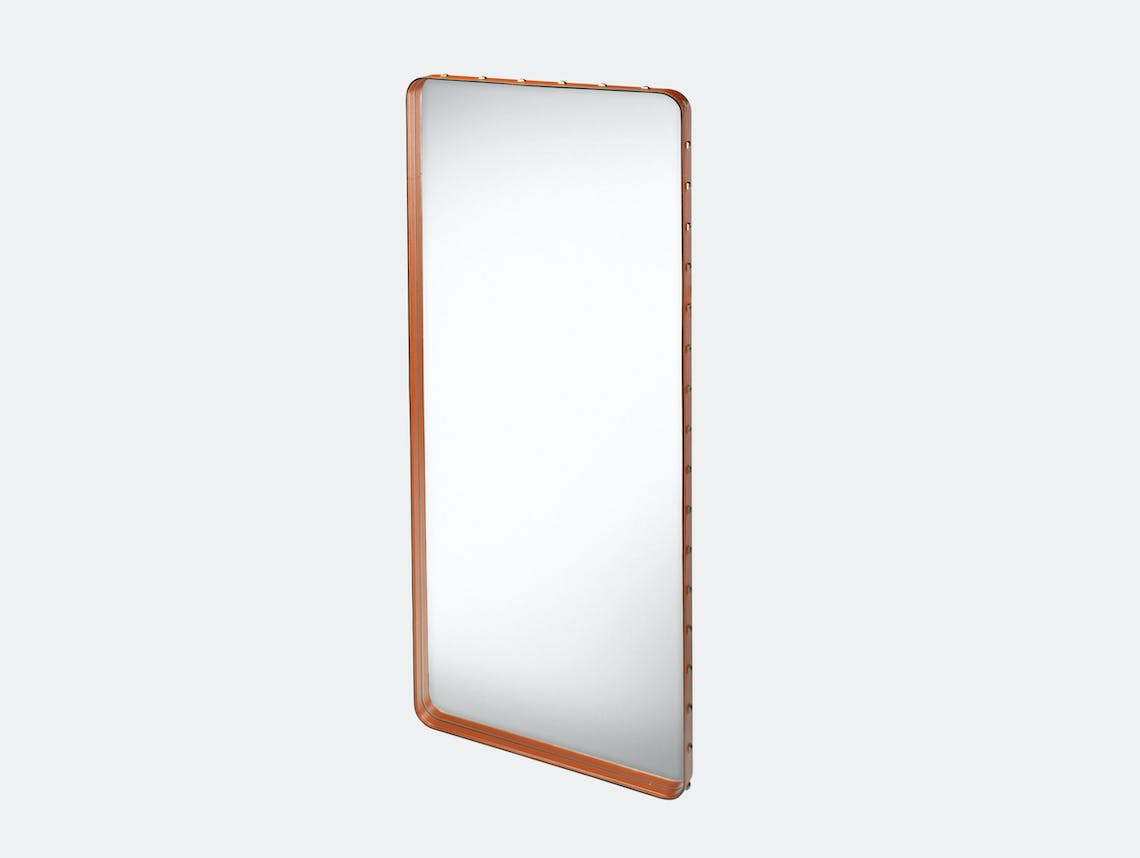 Gubi Adnet Rectangular Wall Mirror large tan Jacques Adnet