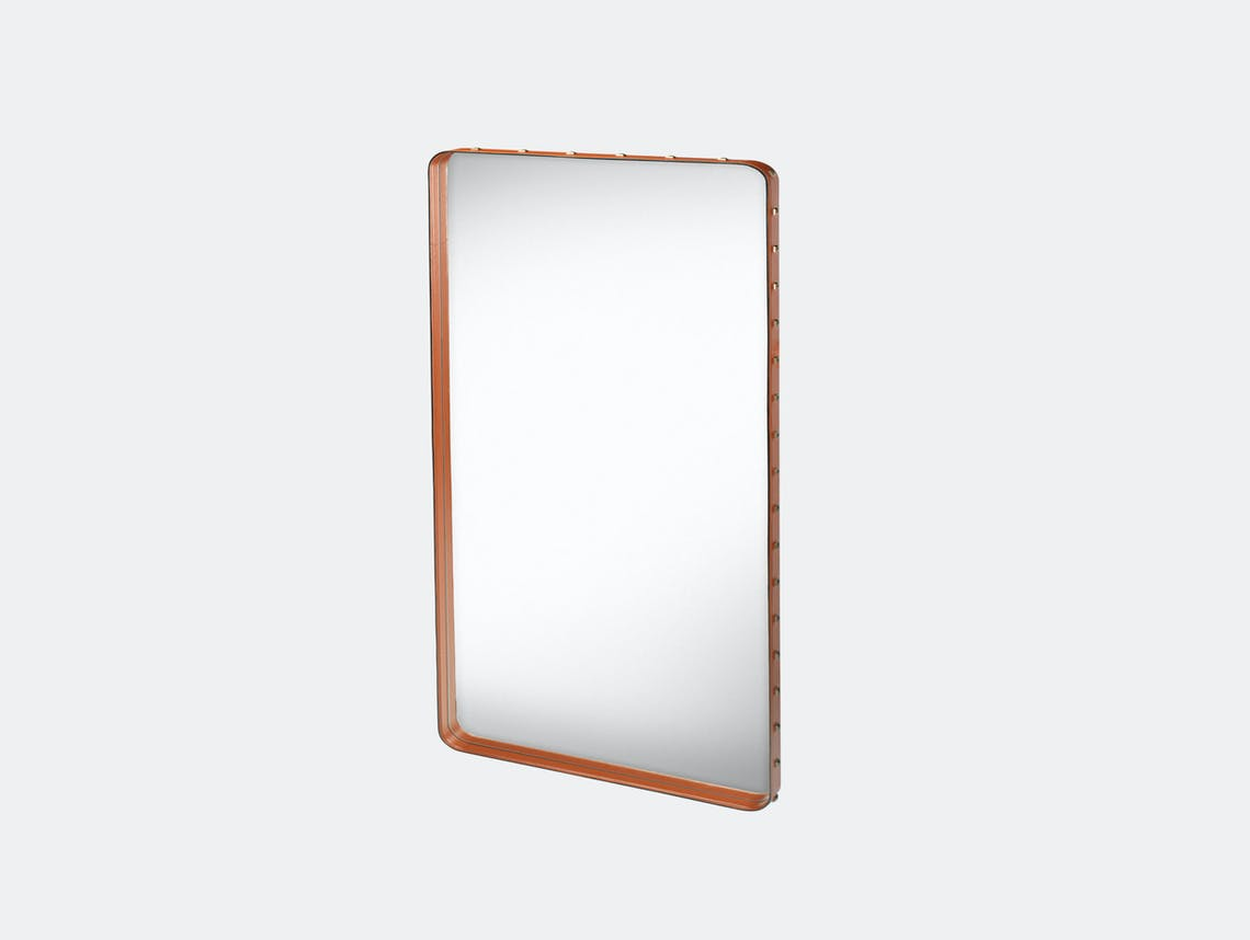 Gubi Adnet Rectangular Wall Mirror medium tan Jacques Adnet
