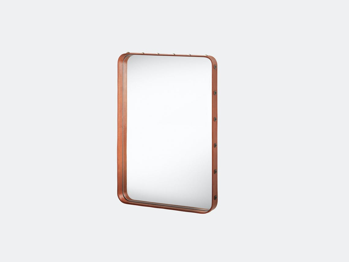 Gubi Adnet Rectangular Wall Mirror small tan Jacques Adnet