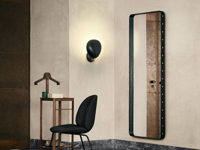 Gubi Adnet Wall Mirror Rectangular Beetle Dining Chair Fully Upholstered Conic Base Cobra Wall Lamp On
