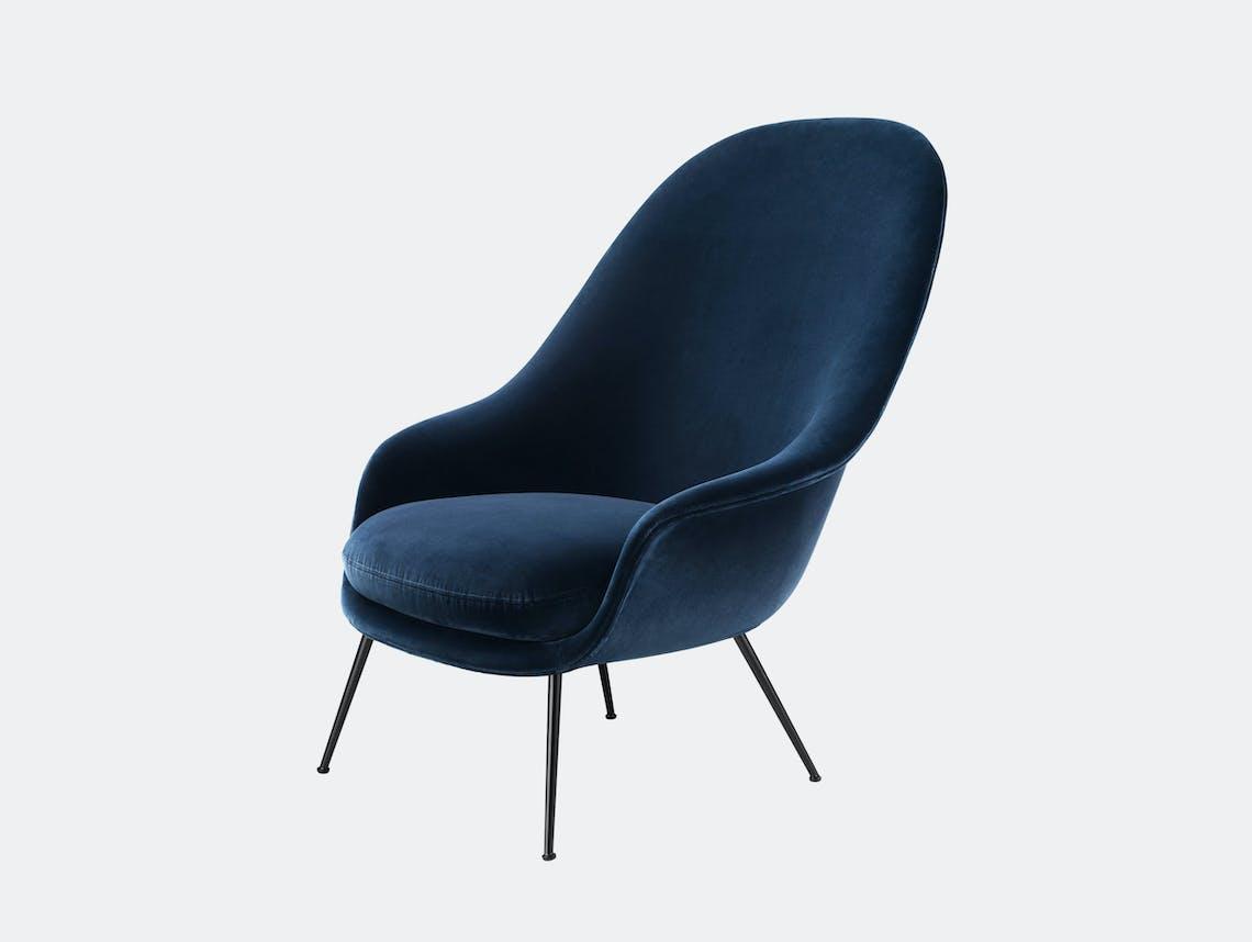 Gubi Bat High Back Lounge Chair Gubi Velvet 970 black conic legs Gam Fratesi