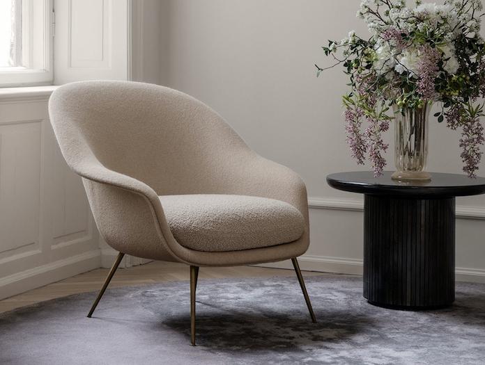 Gubi Bat Lounge Chair Low Back Moon Lounge Table