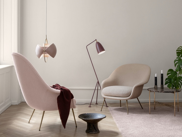 Gubi Bat Lounge Chair Low Back Bat Lounge Chair High Back Grashoppa Floor Lamp Multi Lite Pendant TS Coffee Table