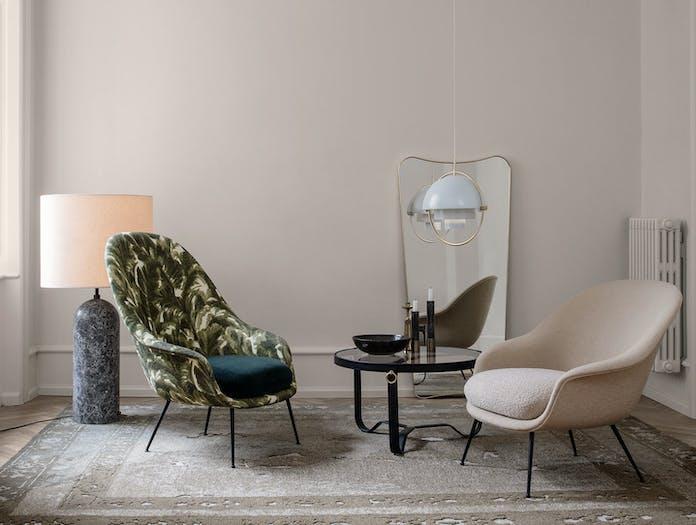 Gubi Bat Lounge Chairs Multi Lite Pendant Adnet Coffee Table
