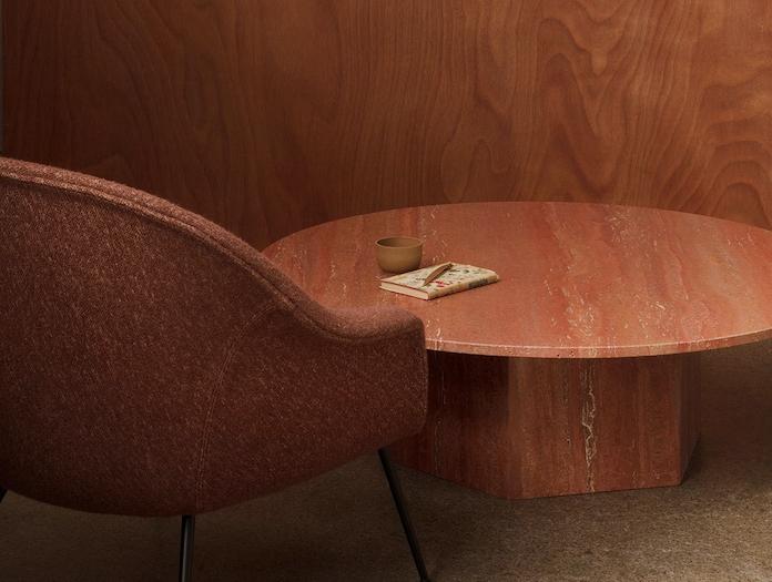 Gubi Epic Coffee Table 1 dia 110cm red travertine Gam Fratesi