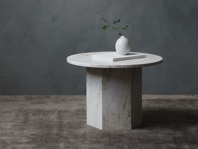 Gubi Epic Coffee Table 1 dia 60cm white travertine Gam Fratesi