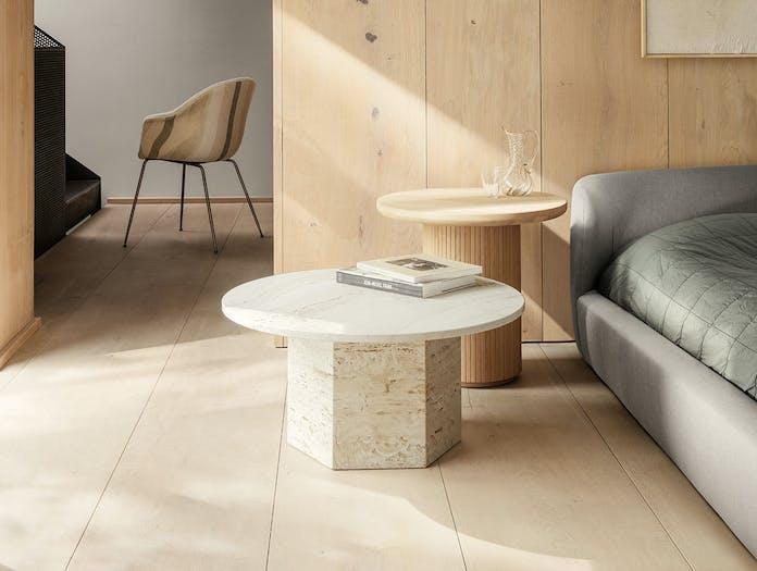 Gubi Epic Coffee Table 1 dia 80cm white travertine Gam Fratesi