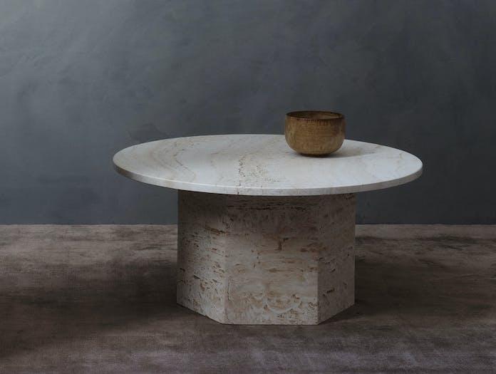 Gubi Epic Coffee Table 3 dia 80cm white travertine Gam Fratesi