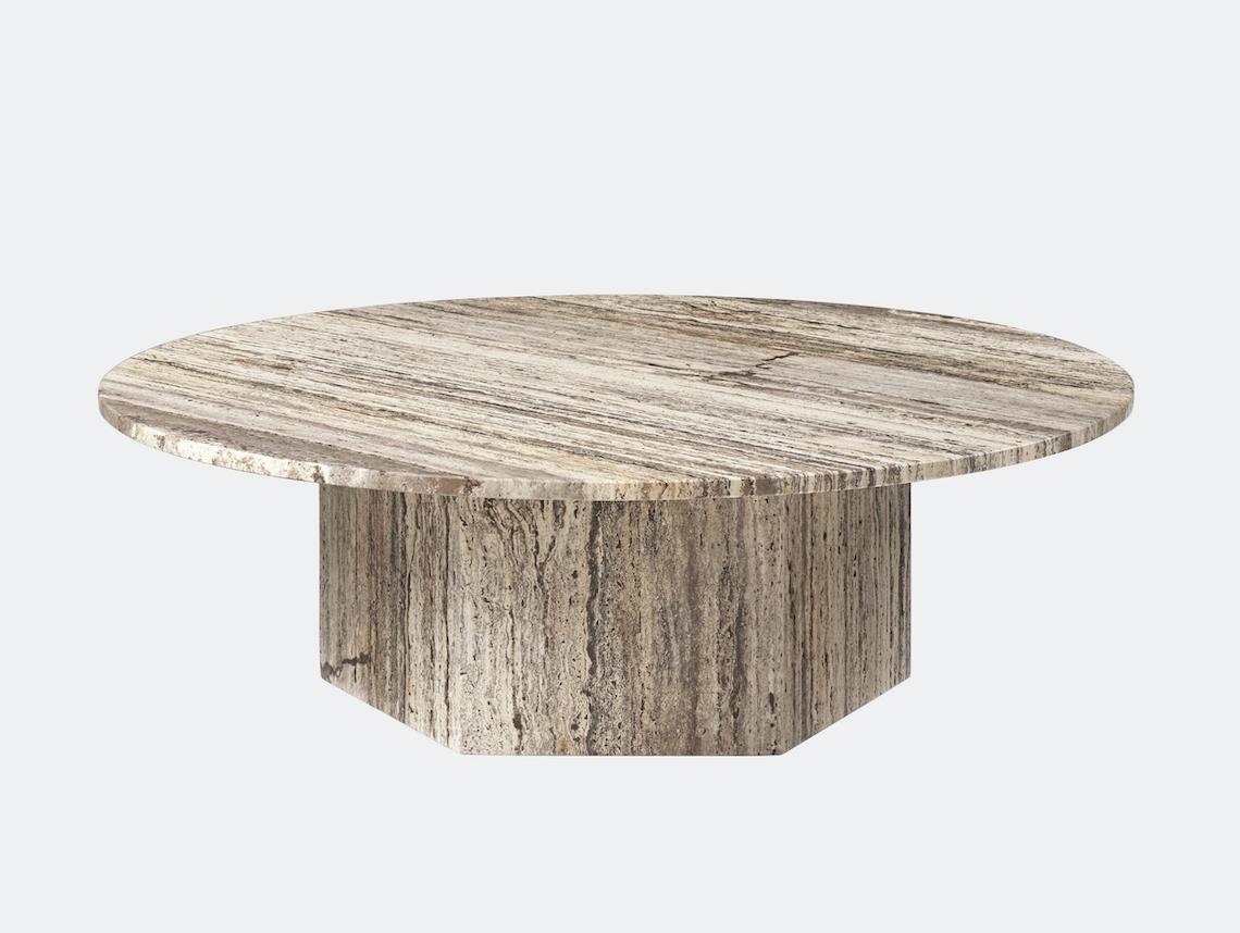 Gubi Epic Coffee Table dia 110cm grey travertine Gam Fratesi