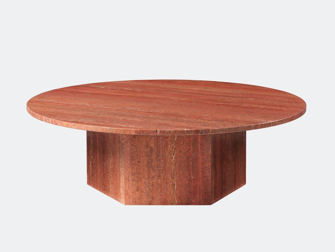 Gubi Epic Coffee Table dia 110cm red travertine Gam Fratesi