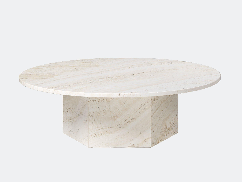 Gubi Epic Coffee Table dia 110cm white travertine Gam Fratesi