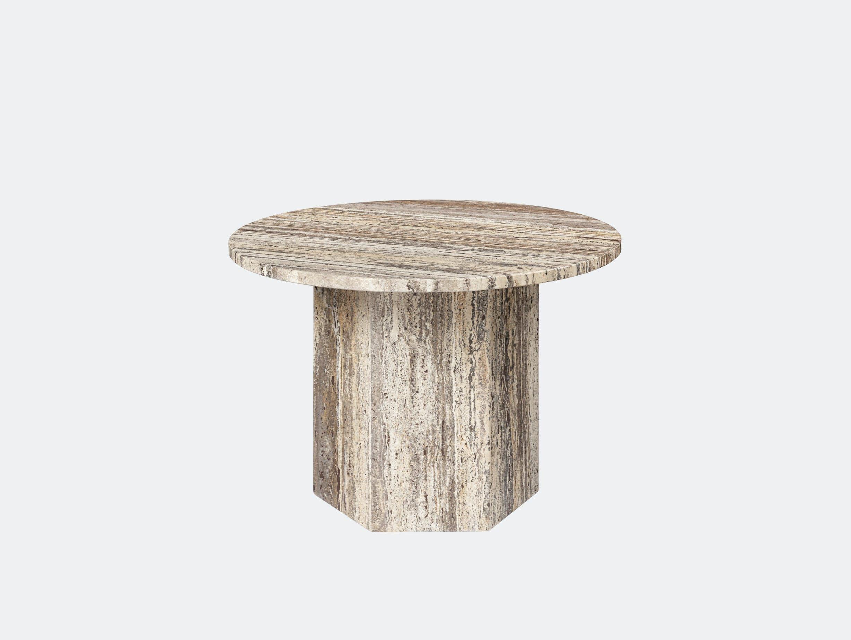 Gubi Epic Coffee Table dia 60cm grey travertine Gam Fratesi
