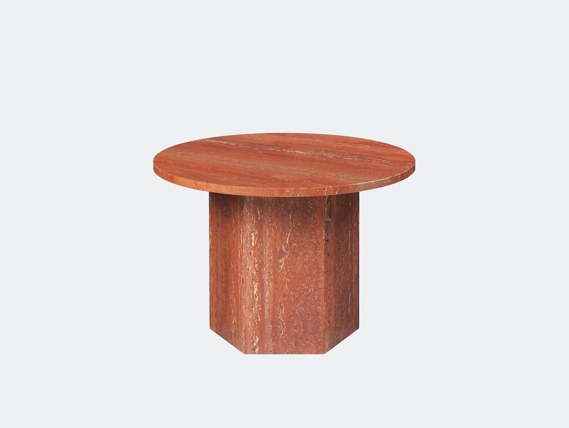 Gubi Epic Coffee Table dia 60cm red travertine Gam Fratesi