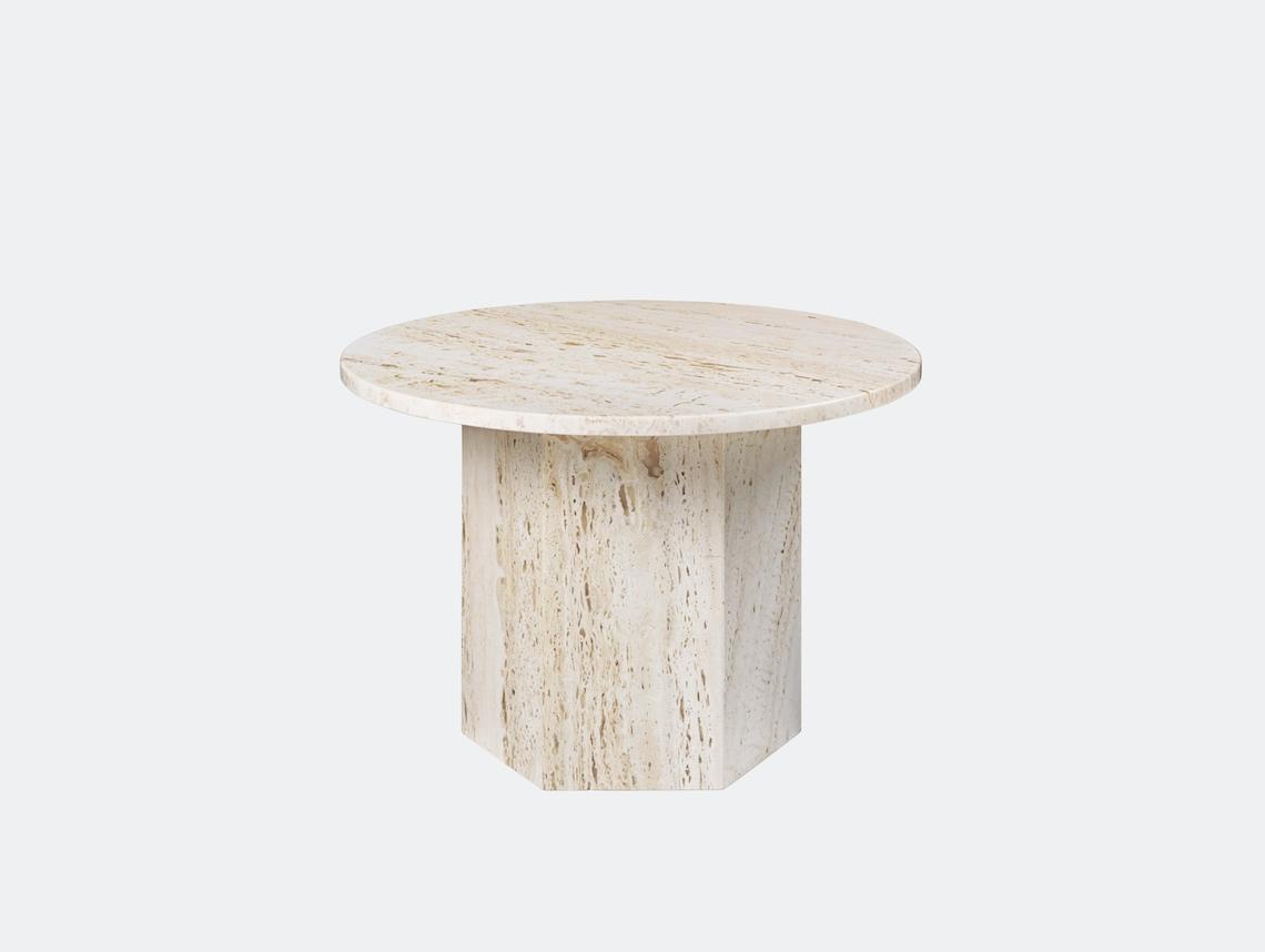 Gubi Epic Coffee Table dia 60cm white travertine Gam Fratesi