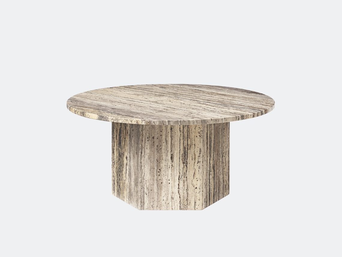 Gubi Epic Coffee Table dia 80cm grey travertine Gam Fratesi