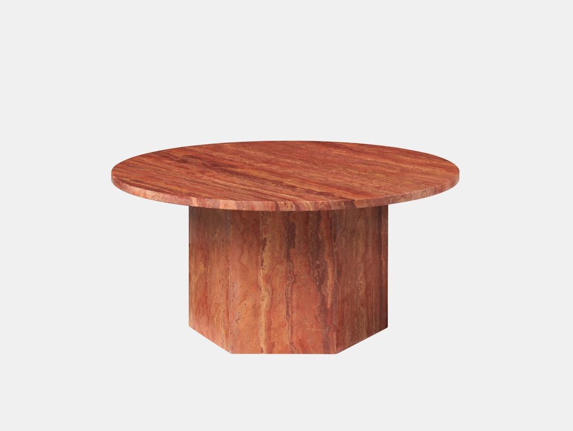 Gubi Epic Coffee Table dia 80cm red travertine Gam Fratesi